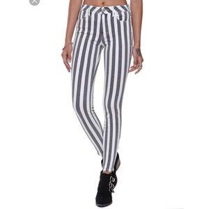 Bullhead High Rise Ankle Zip Striped Jeans 3/27